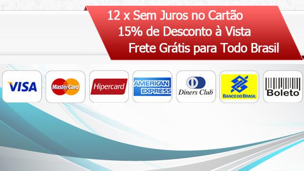 Parcelamos nos Cartões, Visa, Master, hiper, American Express, Diners, Além de Boletos Bancários e Tranferência via Banco do Brasil.